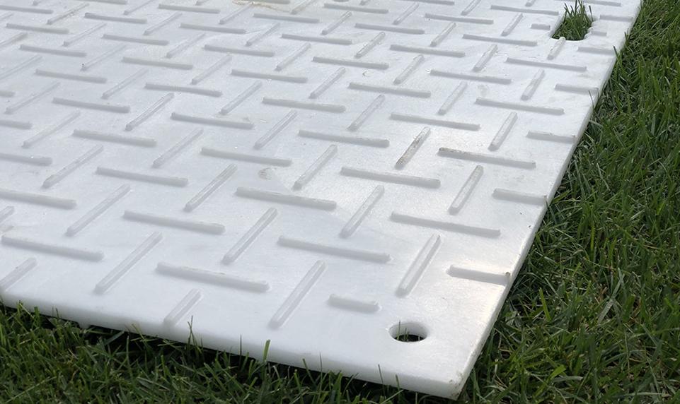 Matrax 4x8 ground protection mats with unique tread design