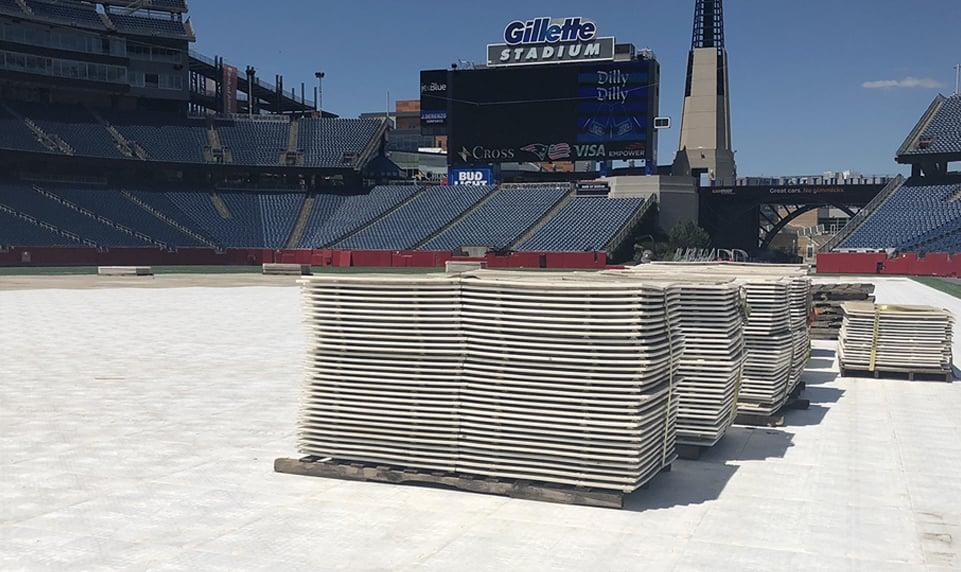 Stadium turf protection at Gillette Stadium with Matrax 4x4 HD