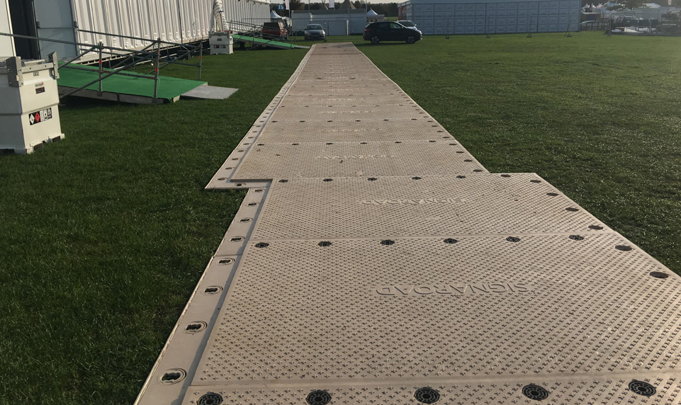 SignaRoad composite mats for temporary access roads